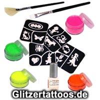Ein komplettes Set zur Erstellung von Glitzertattoos oder Neontattoos