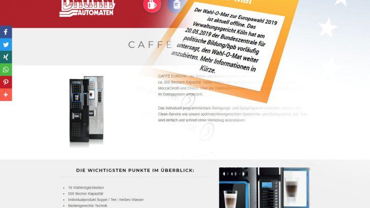 caffe europa - verboten große auswahl an gerichten am kaffeeaut o mat von koelner automaten aufsteller